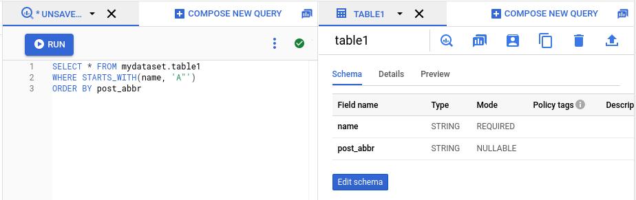 Panneau de l'explorateur SQL avec deux onglets ouverts