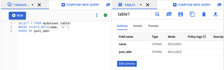 SQL Explorer panel with two open tabs.