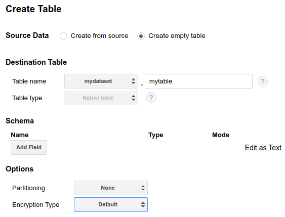 Create empty table