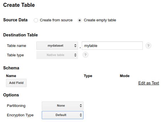 Create empty table