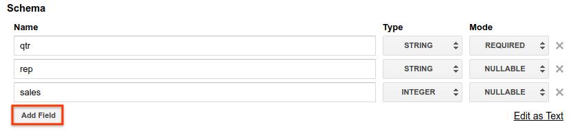 Adicionar esquema usando adição de campos