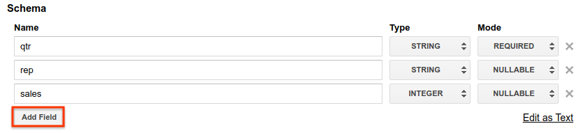 Add schema using add fields.