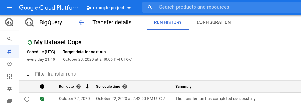 View transfer details console.