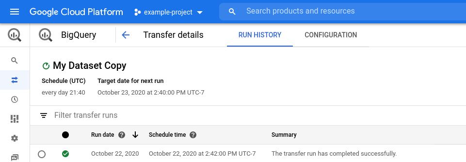 Consola de Ver detalles de transferencia