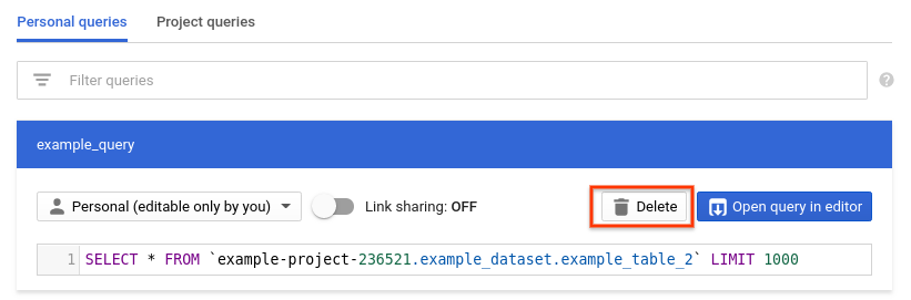Saving and sharing queries | BigQuery | Google Cloud