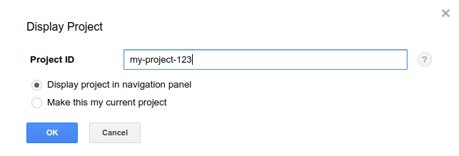 display project dialog