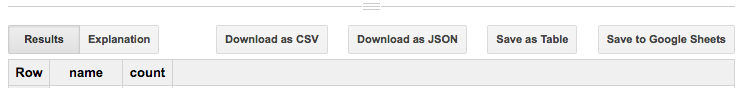 BigQuery web UI screenshot of download and save buttons