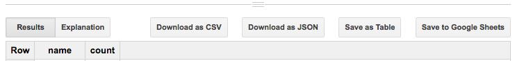 BigQuery ウェブ UI のダウンロードおよび保存ボタンのスクリーンショット