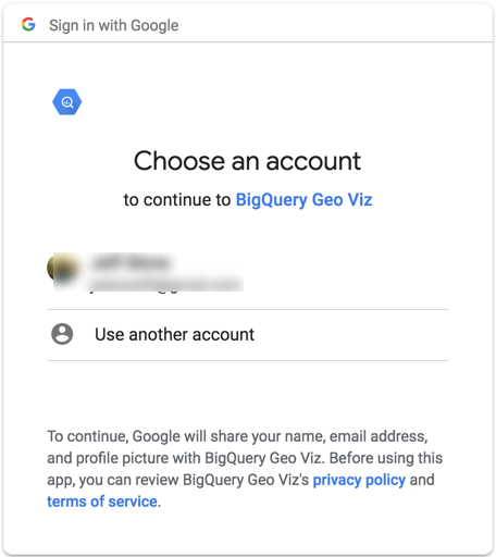 Choose account dialog