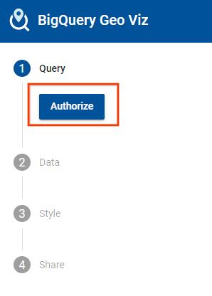 Geo Viz authorization button.