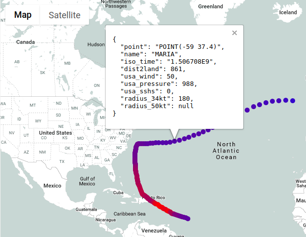 地圖資料點的詳細資訊