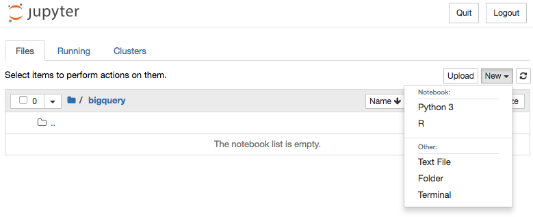 Novo notebook do Jupyter em Python 3