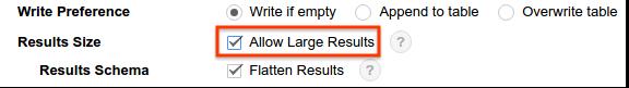 サイズの大きい結果を許可するオプション