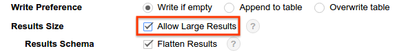 """""""Allow large results""""选项"""