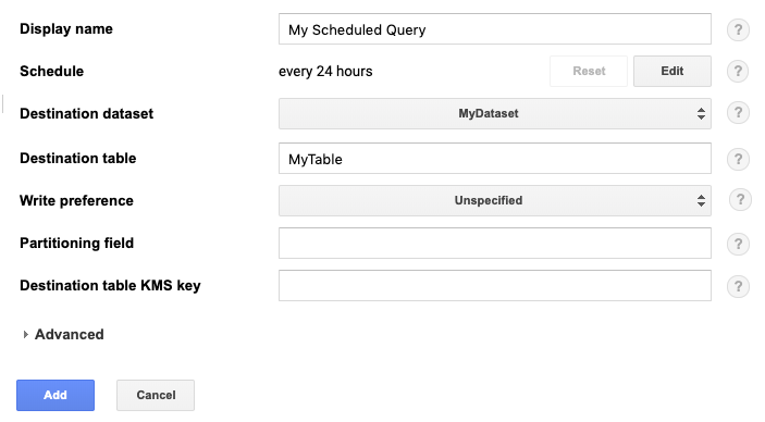New scheduled query