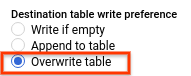 """Optionsfeld """"Tabelle überschreiben"""""""