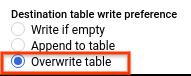 Botón de selección para reemplazar la tabla