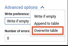 Overwrite table (Tabelle überschreiben)
