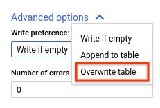 Overwrite table.