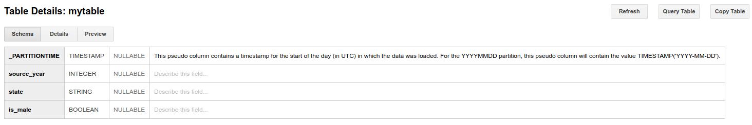 分區資料表結構定義