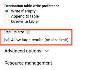 Query results size