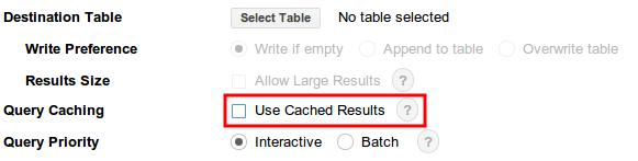 Opção de resultados armazenados em cache