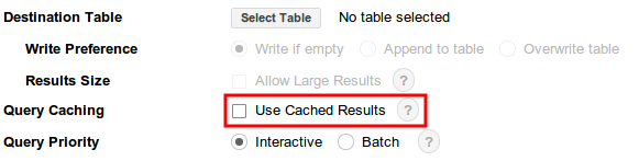 Cached results option