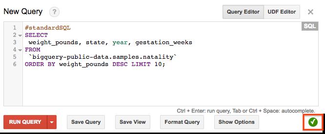 BigQuery web UI query validator.