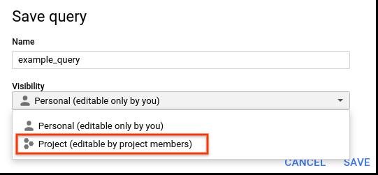 Enregistrer une requête de projet