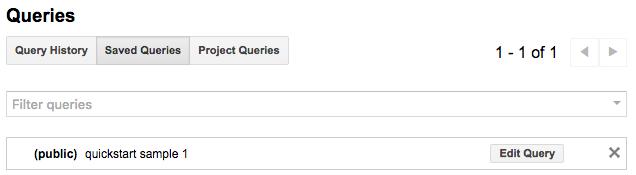 Saved public queries list