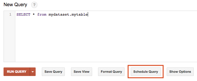Schedule query in classic BigQuery web UI.