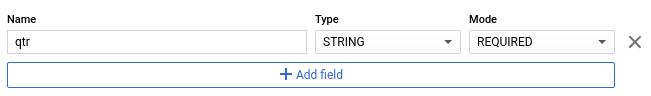 """Adicionar definição de esquema usando o botão """"Adicionar campo""""."""