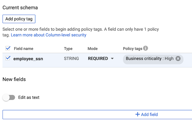Policy tag UI