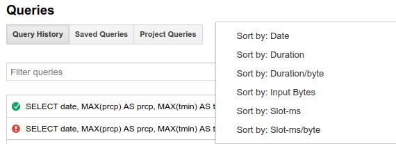 쿼리 기록 정렬 옵션