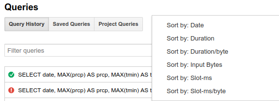 Query history sort options.