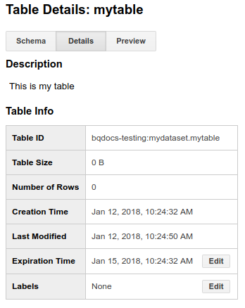 Table expiration
