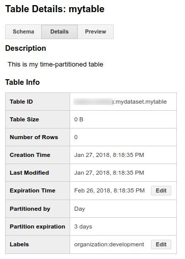 Détails des tables partitionnées