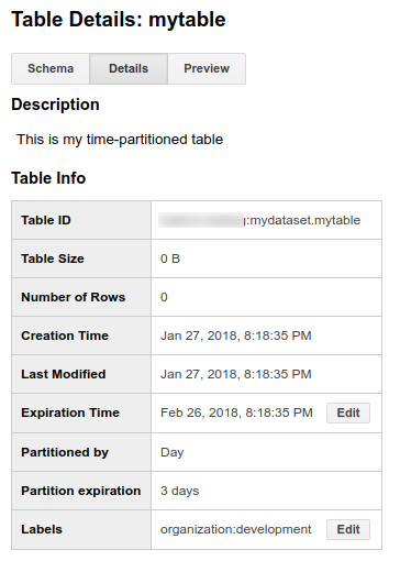 Partitioned table details