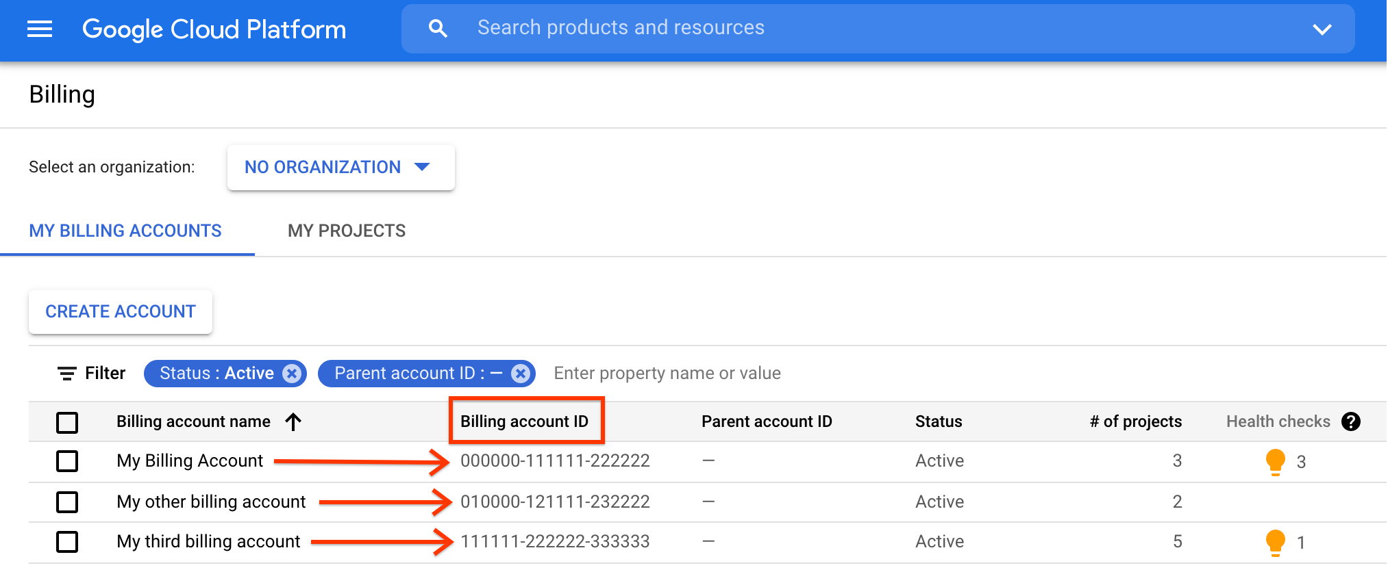 Screenshot of the Manage billing page showing the location of your billing account ID.