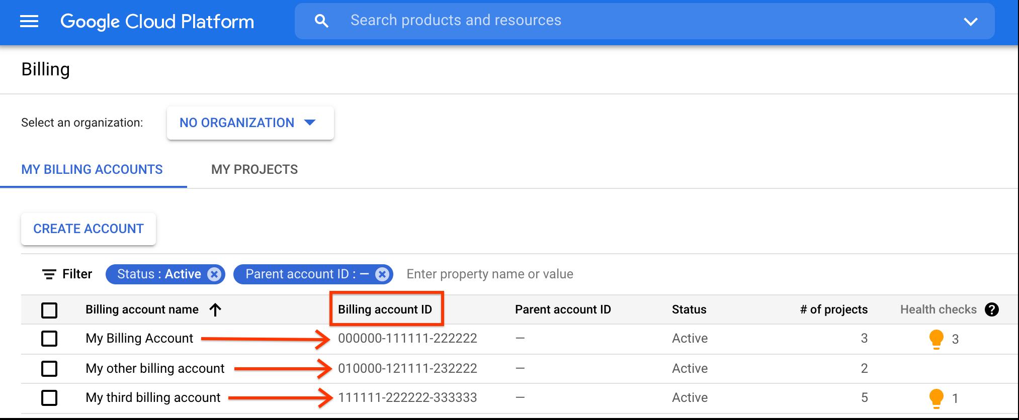 """Captura de tela da página """"Gerenciar contas faturamento"""" com o local do ID da conta de faturamento."""