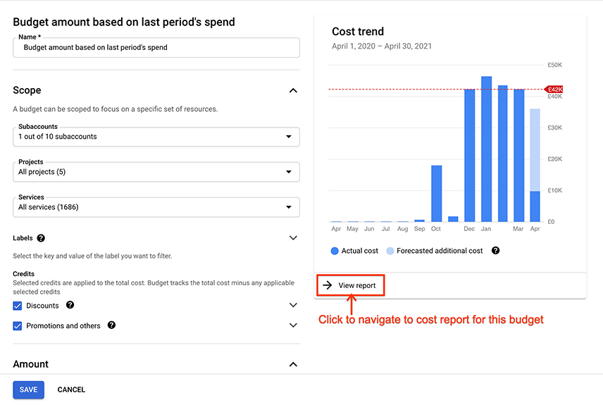 Example of a budget's cost trend chart, viewable when creating or          editing a budget, showing the link to navigate to the cost report          page.