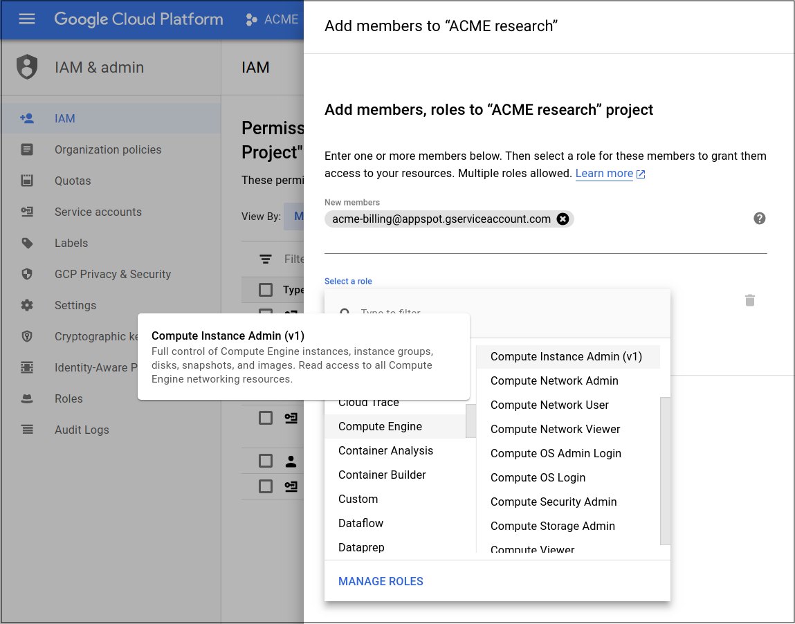 Shows the Cloud IAM screen in the Cloud Console,          where you can set the appropriate permissions for the service account          running the Cloud Function.