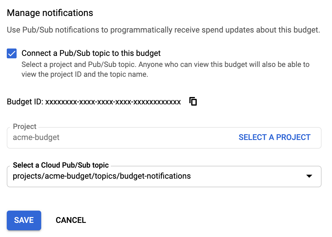 Pub/Sub 주제를 예산에 연결할 수 있는 Google Cloud Console의 알림 관리 섹션입니다. 여기에는 예산 ID, 프로젝트 이름, Pub/Sub 주제가 포함됩니다.