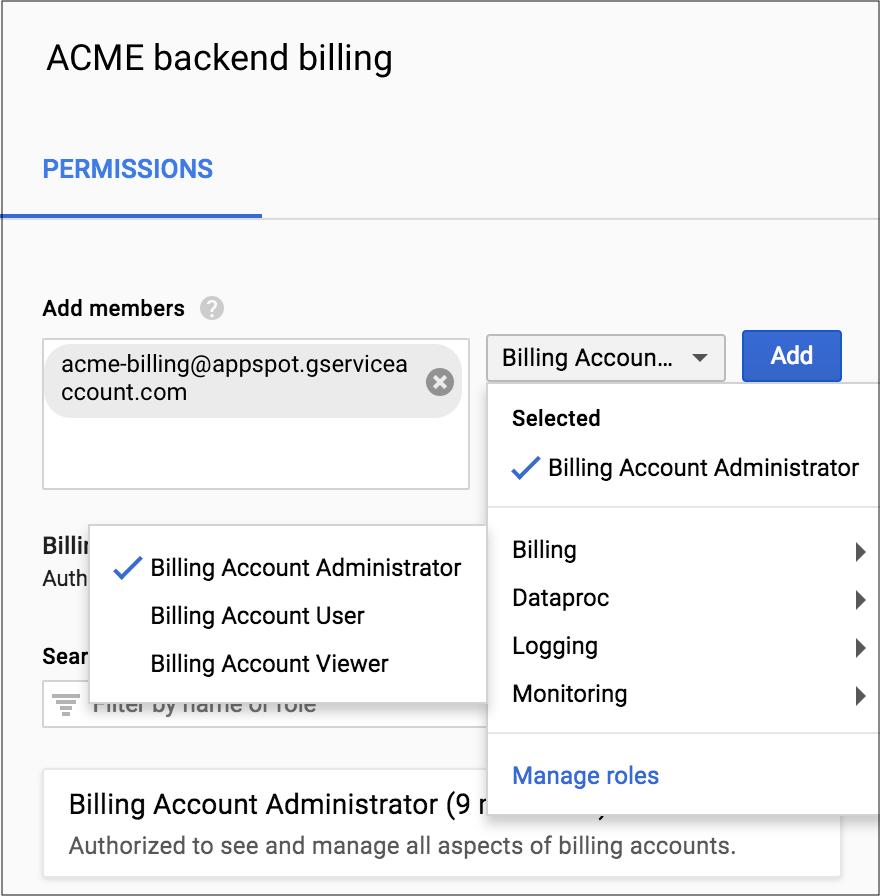 """Veja onde selecionar o nome da conta de serviço e a função de administrador da conta de faturamento na seção """"Permissões"""" do Console do Cloud."""