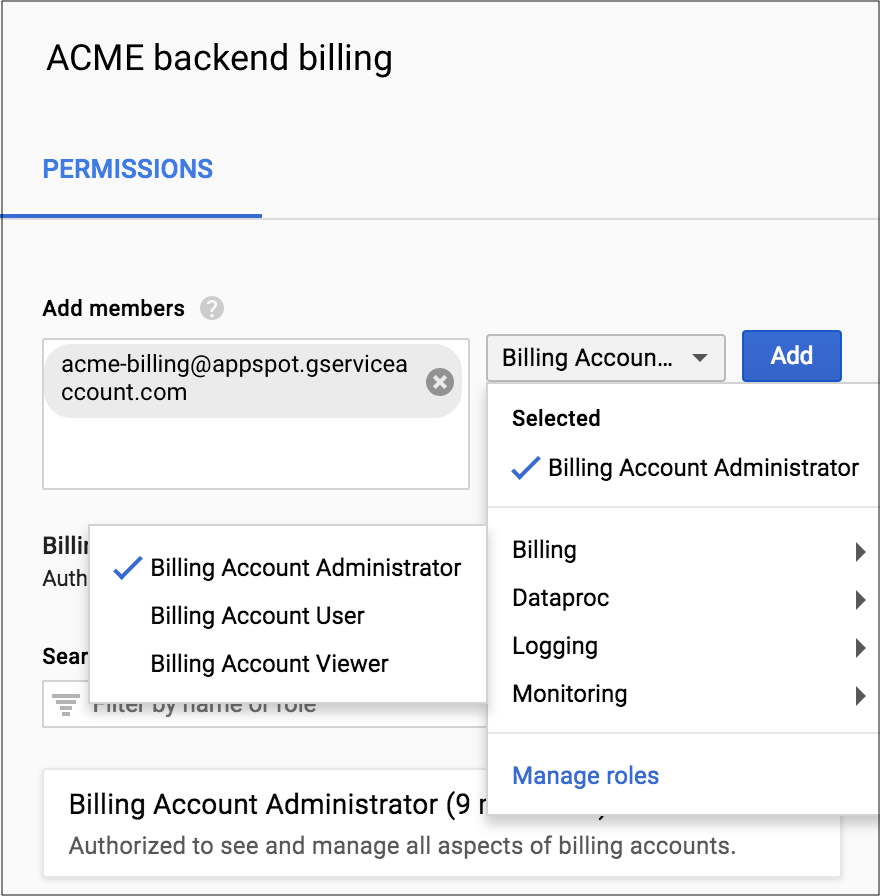 Shows where to select the service account name and Billing Account          Administrator role in the Permissions section of the          Cloud Console.