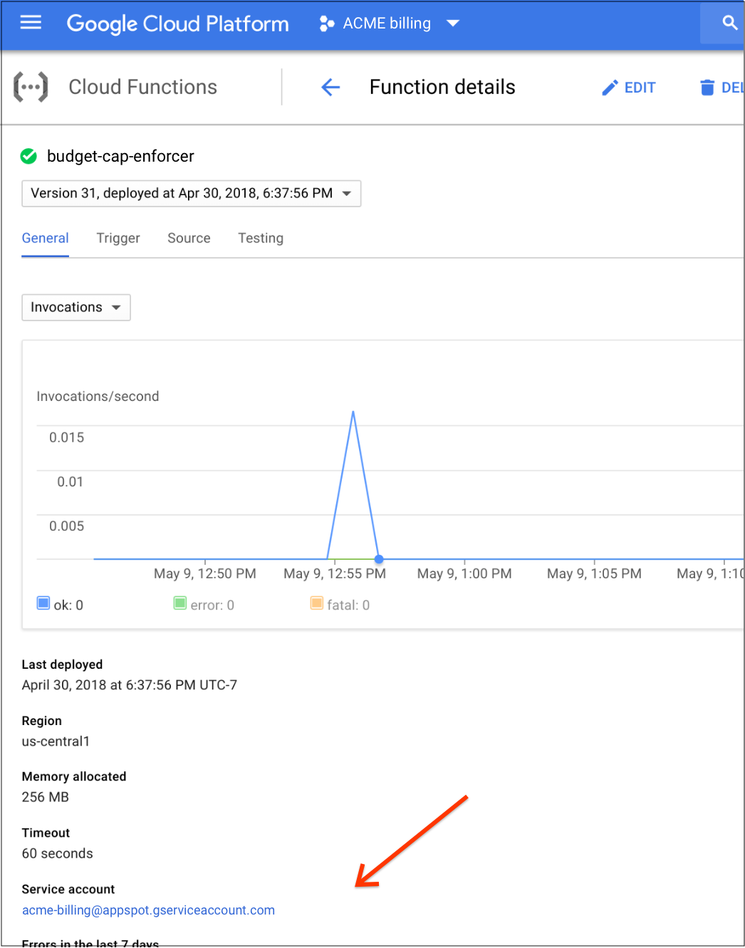 Identify the service account in the GCP console
