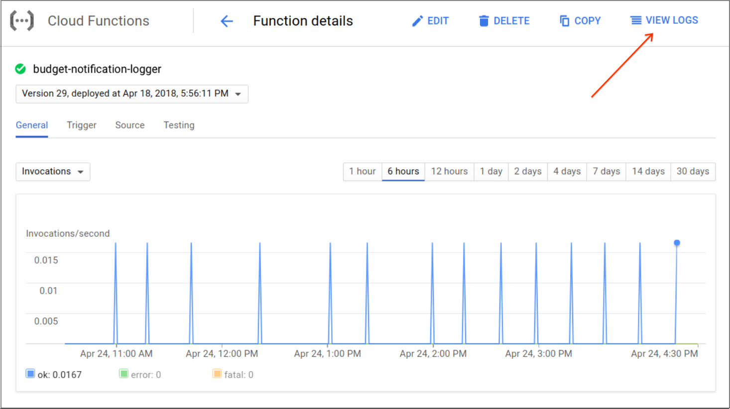 View Cloud Function events in the GCP console