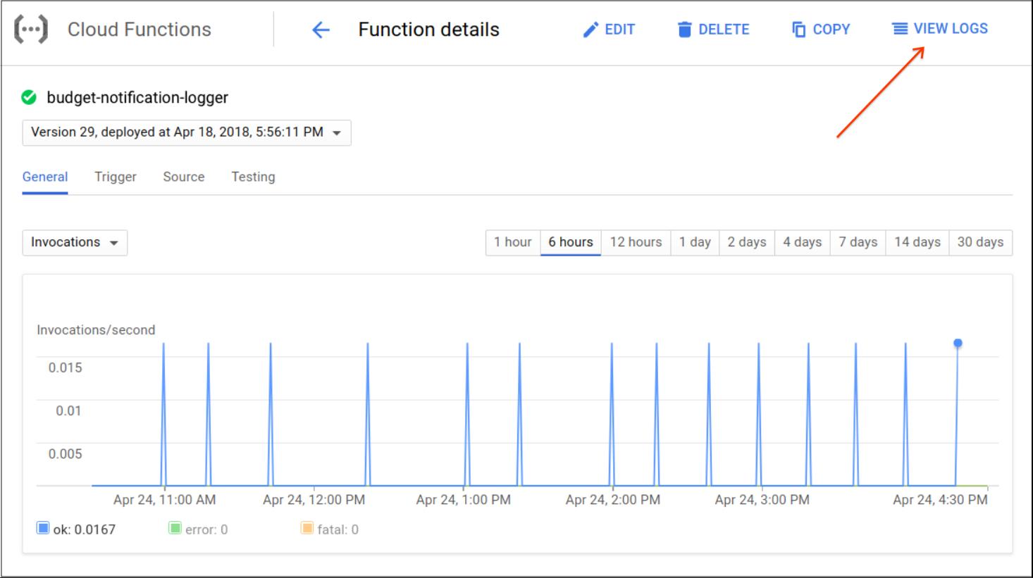 Se muestra dónde puedes encontrar la sección View logs (Ver registros) en la pantalla y la lista de eventos de la función de CloudFunctions en CloudConsole.
