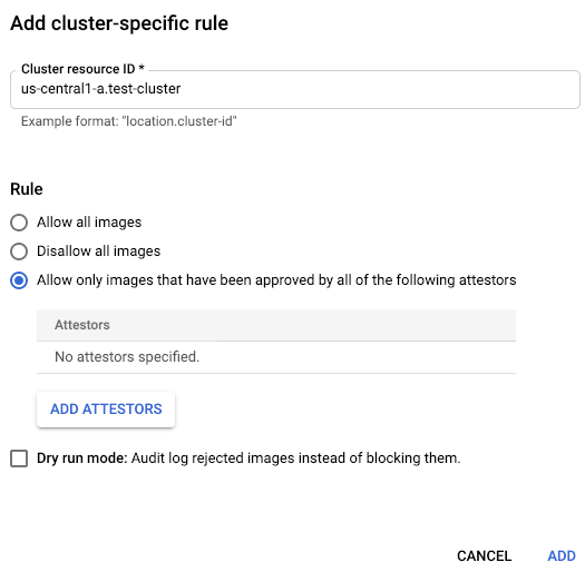 Add cluster-specific rule.