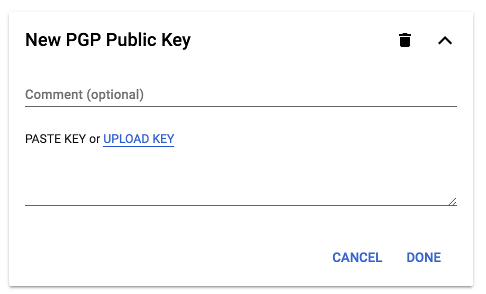Screenshot of PGP public keys text box